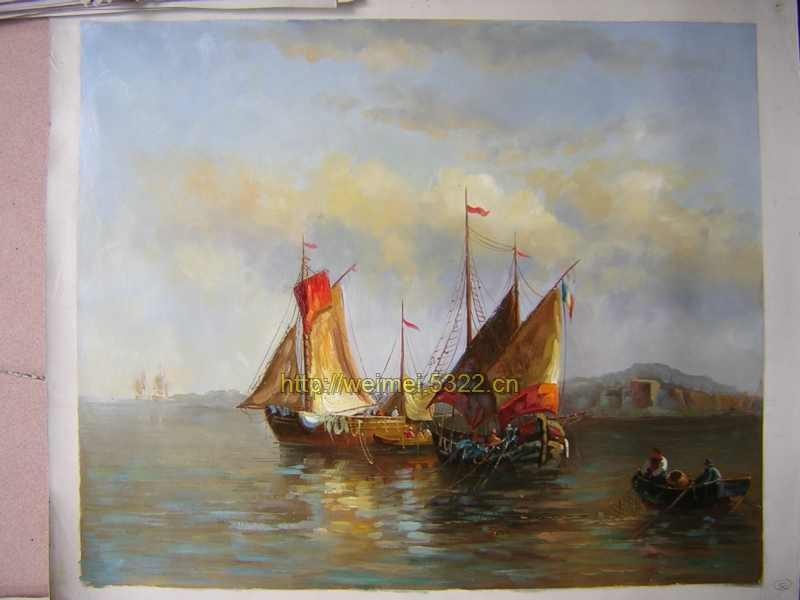 俄罗斯风景油画帆船