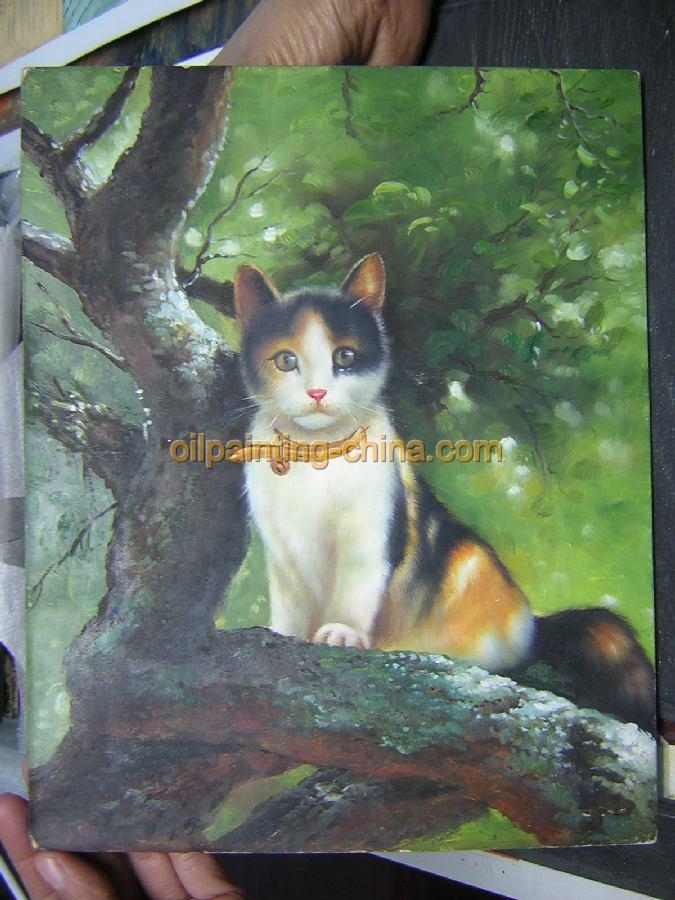 古典动物油画-猫油画(板仔画)