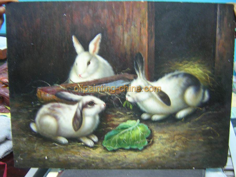 动物油画-兔子油画(板仔油画)